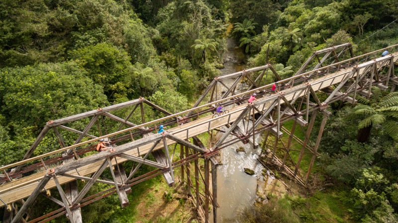 Twin Coast Cycle Trail Tuhipa historic bridge drone shot credit Ruth Lawton Photography reduced