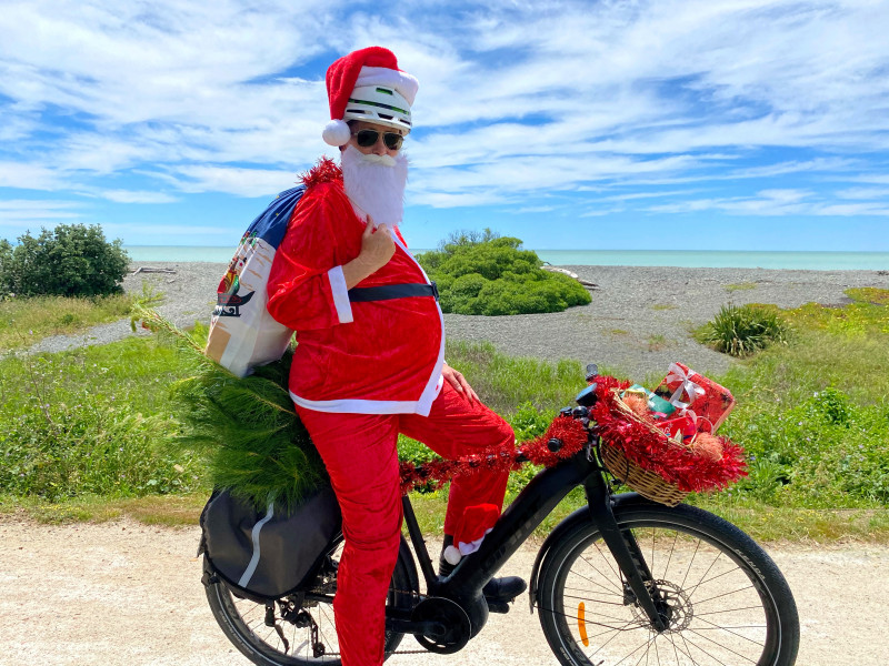 Santa on Hawkes Bay Trails image 1 credit Charlie Hollings HattonHawkes Bay Regional Council
